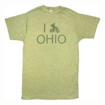 'I (Bike) OHIO' in Green on Heather Green Unisex Tees