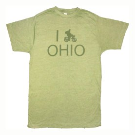 'I (Bike) OHIO' in Green on Heather Green Unisex Tees