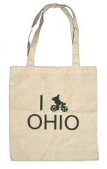 'I (Bike) OHIO' in Green on Natural Tote