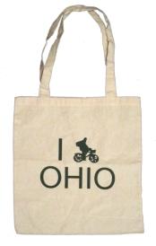 'I (Bike) OHIO' in Green on Natural Tote
