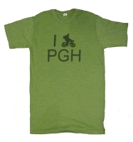 'I (Bike) PGH' in Green on Heather Green Unisex Tee