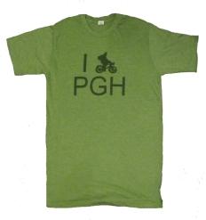 'I (Bike) PGH' in Green on Heather Green Unisex Tee