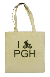 'I (Bike) PGH' in Green on Natural Tote