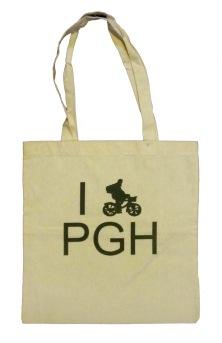 'I (Bike) PGH' in Green on Natural Tote