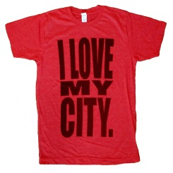 'I LOVE MY CITY' in Black on Heather Red Unisex Tee