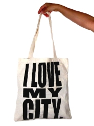 'I Love My City', in Black on Natural Tote 2