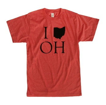 'I (Ohio) OH' in Black on Heather Red Unisex Tee