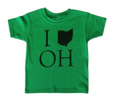 'I (Ohio) OH' in Black on Kelly Green Toddler Tee