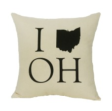 'I (Ohio) OH' in Black on Natural Canvas Pillow