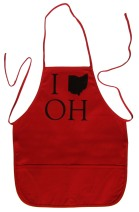 'I (Ohio) OH' in Black on Red Apron