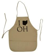 'I (Ohio) OH' in Black on Tan Apron