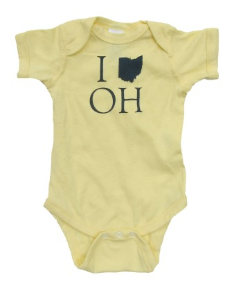 'I (Ohio) OH' in Dark Blue on Banana Yellow Rabbit Skins Onesie