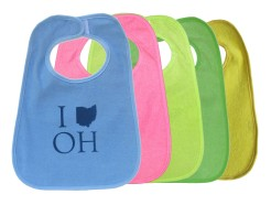 'I_OH' in Blue on Multiple Bibs (Lime Green, Pink, Light Blue, Green)