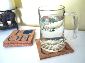 'I_OH', in Blue on Natural Cork Coasters (Installed)