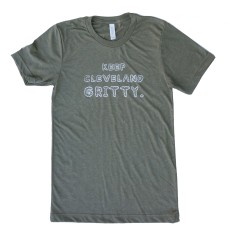 'Keep Cleveland Gritty' Olive Tri-Blend Unisex Tee