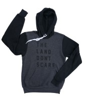 'Land Don't Scare' 2-Tone Hoodie (Dark Grey Heather, Black)