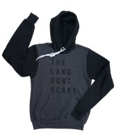 'Land Don't Scare' 2-Tone Hoodie (Dark Grey Heather, Black)