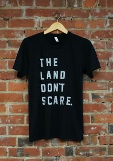 'Land Don't Scare' on Black Tri-Blend Unisex Tee