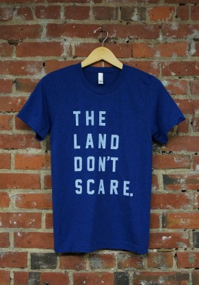 'Land Don't Scare' on Navy Tri-Blend Unisex Tee