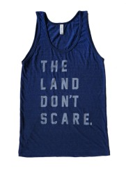 'Land Don't Scare' on Tri-Indigo Unisex American Apparel Tank