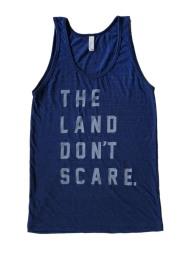 'Land Don't Scare' on Tri-Indigo Unisex American Apparel Tank