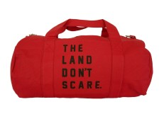 'Land Don't Scare' Red Duffel Bag (White Background)