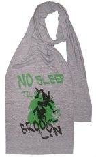 'No Sleep Til Brooklyn' in Black and Green on Athletic Grey Jersey Scarf