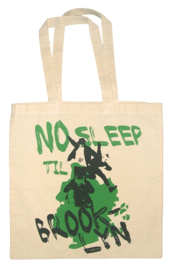 'No Sleep Til Brooklyn' in Black and Green on Natural Tote