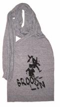 'No Sleep Til Brooklyn' in Black on Athletic Grey Jersey Scarf