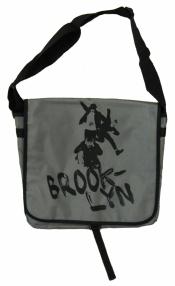 'No Sleep Til Brooklyn' in Black on Grey Messenger Bag