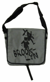 'No Sleep Til Brooklyn' in Black on Grey Messenger Bag