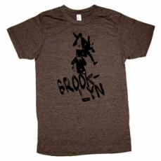 'No Sleep Til Brooklyn' in Black on Heather Brown Tee
