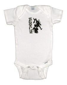 'No Sleep Til Brooklyn' in Black on White Onesie