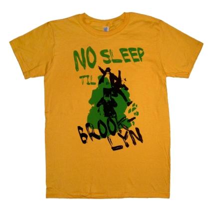 'No Sleep Til Brooklyn' in Green and Black on Honey Yellow Tee