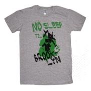 'No Sleep Til Brooklyn' in Green and Black on Sport Heather GreyTee