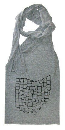 'Ohio Counties' in Black on Athletic Grey Jersey Scarf