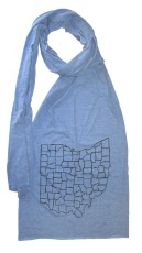 'Ohio Counties' in Black on Heather Athletic Blue Jersey Scarf