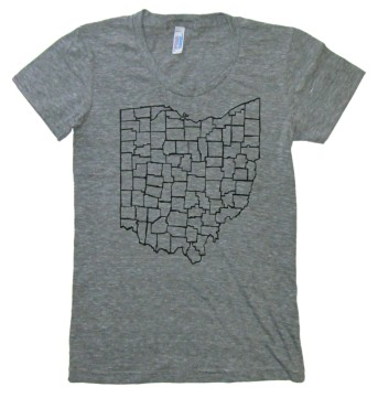 'Ohio Counties' in Black on Heather Grey American Apparel Ladies Track Tee