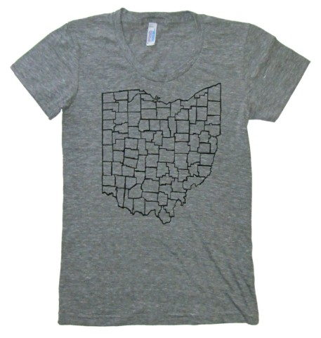 'Ohio Counties' in Black on Heather Grey American Apparel Ladies Track Tee