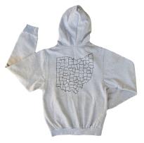 'Ohio Counties' in Black on Heather Grey Unisex Zip Hoodie (Back)