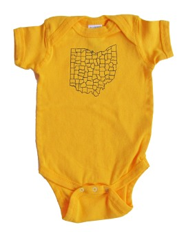 'Ohio Counties' in Dark Blue on Gold Rabbit Skins Onesie
