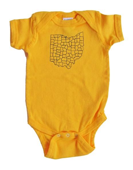 'Ohio Counties' in Dark Blue on Gold Rabbit Skins Onesie