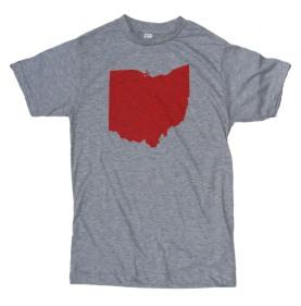 'Ohio Silhouette' in Red on Heather Grey Unisex Tee