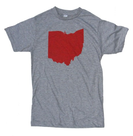 'Ohio Silhouette' in Red on Heather Grey Unisex Tee