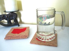 'Ohio Silhouette', in Red on Natural Cork Coasters (Installed)