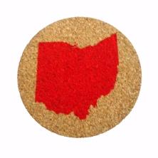 'Ohio Silhouette' in Red on Round Cork Coaster, 4''Diameter