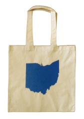 'Ohio Silhouette' in Royal Blue on Natural Canvas Tote