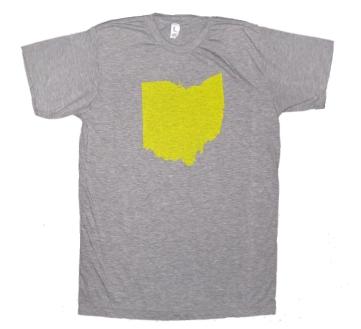 'Ohio Silhouette' in Yellow on Heather Grey Unisex Tee