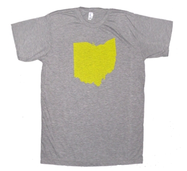 'Ohio Silhouette' in Yellow on Heather Grey Unisex Tee
