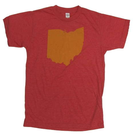 'Ohio Silhouette' in Yellow on Heather Red Unisex Tees